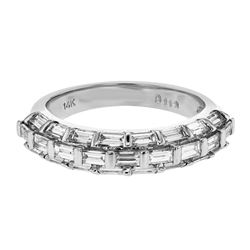 1.13 CTW Diamond Band Ring 14K White Gold - REF-104M2F