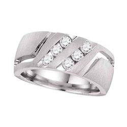 1/2 CTW Mens Round Diamond Wedding Double Row Ring 14kt White Gold - REF-117X3T