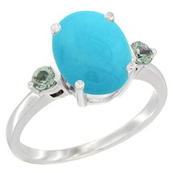 2.64 CTW Turquoise & Green Sapphire Ring 14K White Gold - REF-38N2Y