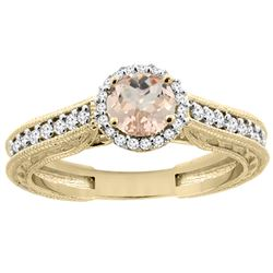 0.94 CTW Morganite & Diamond Ring 14K Yellow Gold - REF-60M3A