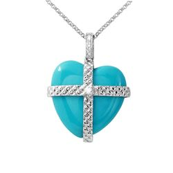 11.85 CTW Turquoise & Diamond Necklace 14K White Gold - REF-27X2R