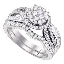 3/4 CTW Princess Round Diamond Bridal Wedding Engagement Ring 14kt White Gold - REF-90M3A