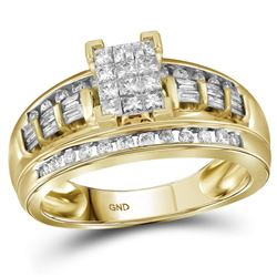 1/2 CTW Princess Diamond Cluster Bridal Wedding Engagement Ring 14kt Yellow Gold - REF-43X5T