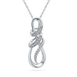 1/10 CTW Round Diamond Infinity Pendant 10kt White Gold - REF-13H2W