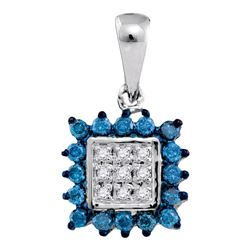 1/3 CTW Round Blue Color Enhanced Diamond Square Cluster Pendant 10kt White Gold - REF-11Y9X