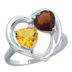 2.61 CTW Diamond, Citrine & Garnet Ring 14K White Gold - REF-33M9K