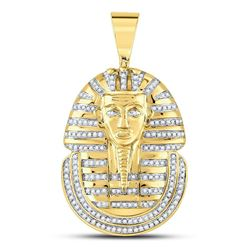 5/8 CTW Mens Round Diamond Pharaoh Face Charm Pendant 10kt Yellow Gold - REF-54K3R
