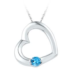 1/6 CTW Round Lab-Created Blue Topaz Heart Pendant 10kt White Gold - REF-5M9A