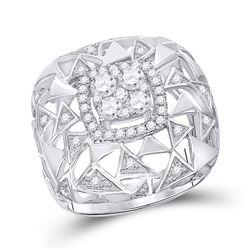 1 CTW Round Diamond Geometric Cocktail Ring 14kt White Gold - REF-121X2T