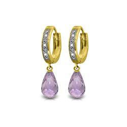 Genuine 4.54 ctw Amethyst & Diamond Earrings 14KT Yellow Gold - REF-52R2P