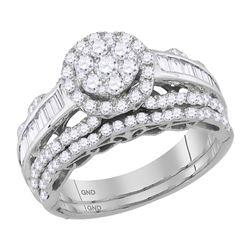 1 & 1/2 CTW Round Diamond Cluster Bridal Wedding Engagement Ring 14kt White Gold - REF-107Y9X