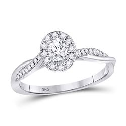 1/3 CTW Oval Diamond Solitaire Bridal Wedding Engagement Ring 14kt White Gold - REF-47Y9X