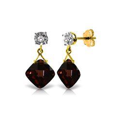 Genuine 17.56 ctw Garnet & Diamond Earrings 14KT Yellow Gold - REF-59R2P