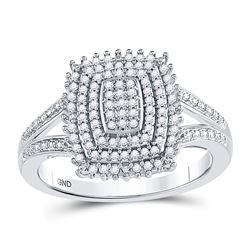 1/4 CTW Round Diamond Rectangle Cluster Split-shank Ring 10kt White Gold - REF-22H8W