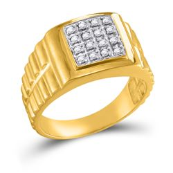 1/4 CTW Mens Round Diamond Square 2-tone Cluster Ring 10kt Yellow Gold - REF-30H3W