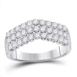 1 CTW Round Diamond Triple Row Chevron Ring 14kt White Gold - REF-63F5M