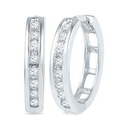 1/5 CTW Round Diamond Hoop Earrings 10kt White Gold - REF-20A3N