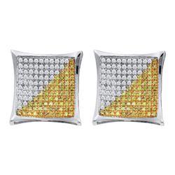 1/6 CTW Mens Round Yellow Color Enhanced Diamond Square Kite Cluster Earrings 10kt White Gold - REF-