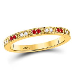 1/4 CTW Round Ruby Diamond Milgrain Stackable Ring 10kt Yellow Gold - REF-18X3T