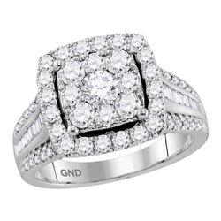 2 CTW Round Diamond Cluster Bridal Wedding Engagement Ring 10kt White Gold - REF-167R9H