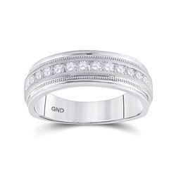 1/2 CTW Mens Round Diamond Wedding Single Row Ring 10kt White Gold - REF-54H3W
