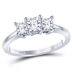 1 CTW Princess Diamond 3-stone Bridal Wedding Engagement Ring 14kt White Gold - REF-105N3Y