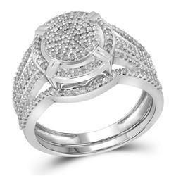 1/2 CTW Round Diamond Cluster Bridal Wedding Engagement Ring 10kt White Gold - REF-45N3Y