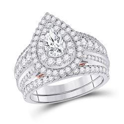 2 CTW Pear Diamond Bridal Wedding Engagement Ring 14kt Two-tone Gold - REF-239W9F