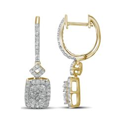 7/8 CTW Round Diamond Rectangle Dangle Hoop Earrings 14kt Yellow Gold - REF-87F5M