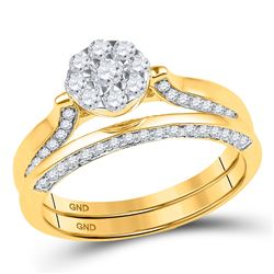 5/8 CTW Round Diamond Cluster Bridal Wedding Engagement Ring 10kt Yellow Gold - REF-41R9H