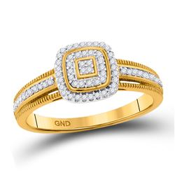 1/6 CTW Round Diamond Cluster Square Frame Milgrain Ring 10kt Yellow Gold - REF-18M3A