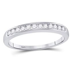 1/4 CTW Round Diamond Wedding Channel Set Ring 14kt White Gold - REF-25A5N