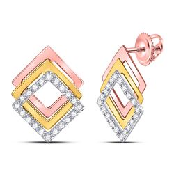 1/6 CTW Round Diamond Offset Square Earrings 10kt Tri-Tone Gold - REF-19R2H