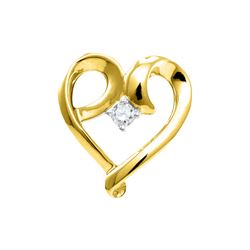 1/20 CTW Round Diamond Solitaire Heart Pendant 10kt Yellow Gold - REF-8W4F