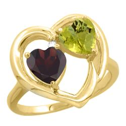 2.61 CTW Diamond, Garnet & Lemon Quartz Ring 14K Yellow Gold - REF-33N5Y