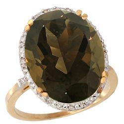 13.71 CTW Quartz & Diamond Ring 10K Yellow Gold - REF-57H6M