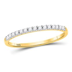 1/6 CTW Round Diamond Wedding Single Row Ring 14kt Yellow Gold - REF-15H5W