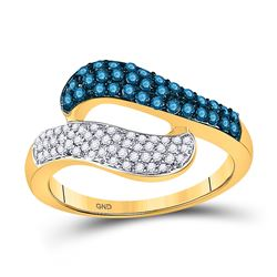 1/2 CTW Round Blue Color Enhanced Diamond Cocktail Ring 10kt Yellow Gold - REF-30M3A