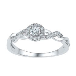 1/5 CTW Round Diamond Solitaire Bridal Wedding Engagement Ring 10kt White Gold - REF-19M2A