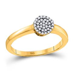 1/8 CTW Round Diamond Cluster Ring 10kt Yellow Gold - REF-11W9F