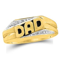 0.01 CTW Mens Round Diamond Dad Father Ring 10kt Yellow Gold - REF-13K2R