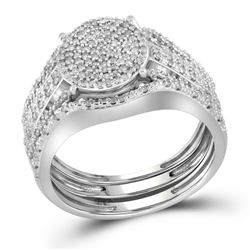 3/8 CTW Round Diamond Cluster Bridal Wedding Engagement Ring 10kt White Gold - REF-35A9N