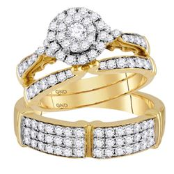 1 & 1/2 CTW His & Hers Round Diamond Solitaire Matching Bridal Wedding Ring 14kt Yellow Gold - REF-1