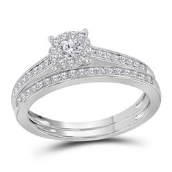 1/2 CTW Round Diamond Slender Halo Bridal Wedding Engagement Ring 14kt White Gold - REF-51R3H