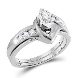 1/4 CTW Marquise Diamond Solitaire Classic Wedding Bridal Set 10kt White Gold - REF-30K3R