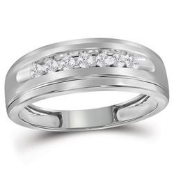 1/4 CTW Mens Round Diamond Wedding Ring 10kt White Gold - REF-24F3M