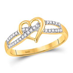 1/6 CTW Round Diamond Woven Heart Ring 10kt Yellow Gold - REF-11N9Y