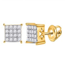 1/4 CTW Round Diamond Square Earrings 10kt Yellow Gold - REF-18A3N