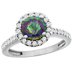1.38 CTW Mystic Topaz & Diamond Ring 14K White Gold - REF-60K8W