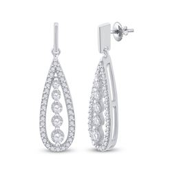 3/4 CTW Round Diamond Teardrop Dangle Earrings 14kt White Gold - REF-65M9A